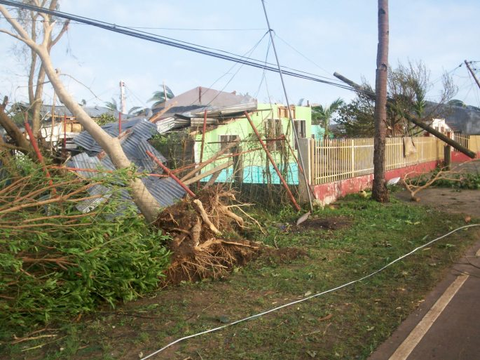 Cross section view looking over the yellow metal fence into our small 11/unit complex after being struck by typhoon Yolanda 08 November 2013.  Most severe storm ever to make landfall.
