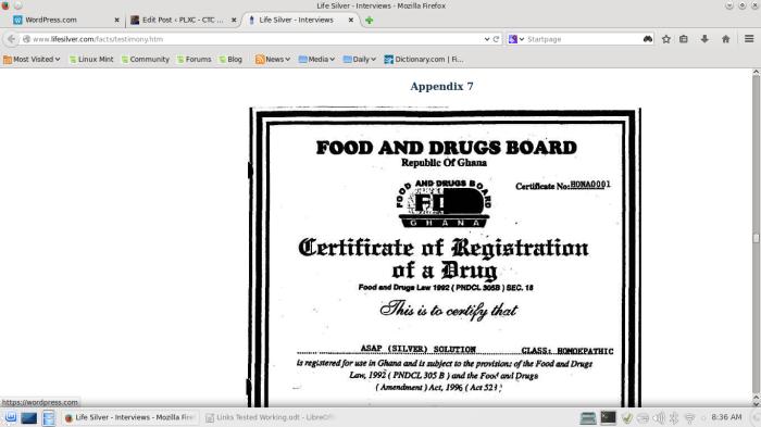 Ghana document signe 12 Sept 2002 regarding 'purified' silver 10PPM/5ml, twelve years ago!