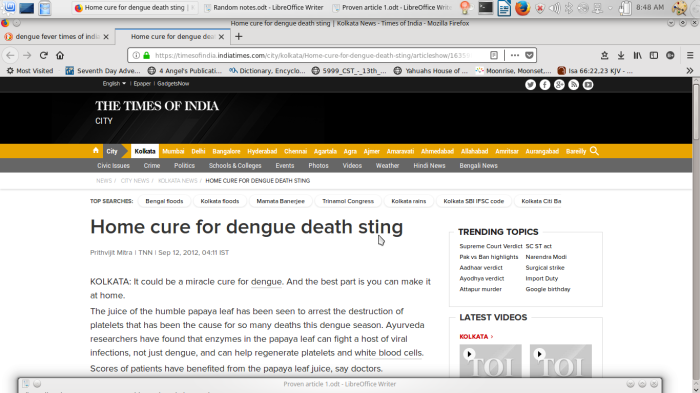 Times of India dengue home cure